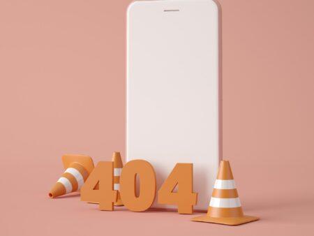 3D Illustration. 404 Webpage error concept.